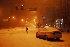 La neige au carrefour de Qinghuayuan